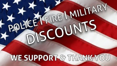 Military, Firefighter, EMS, Police, and Educators discount